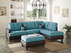teal linen sectional sofa chaise ottoman sectionals