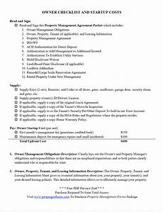 Property Management Takeover Checklist Owner Checklist And Startup Costs Pdf Property