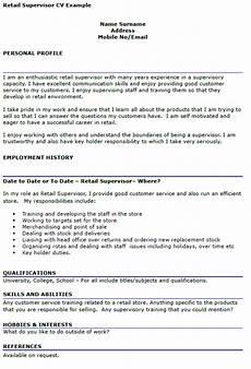 Retail Cv Sample Retail Supervisor Cv Example Icover Org Uk