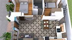 3d simple house plan with two bedrooms 22x30
