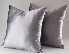 set of 2 velvet solid silver pillow covers silver etsy