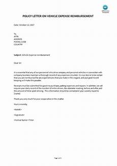 Insurance Claim Letter For Reimbursement Vehicle Expense Reimbursement Policy Letter Templates At