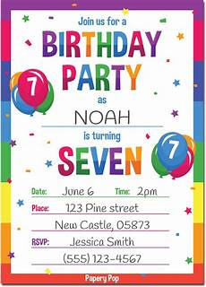 Birthday Invitations For Kids 7 Year Old Birthday Party Invitations With Envelopes 15
