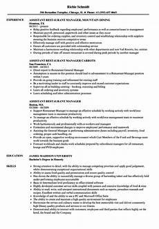 Restaurant Manager Resume Sample Assistant Restaurant Manager Resume Samples Velvet Jobs