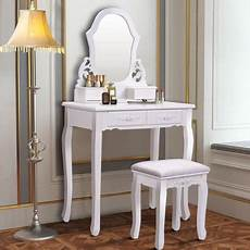 costway white vanity jewelry wooden makeup dressing table
