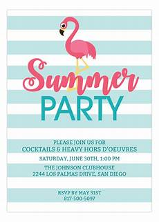 Summer Party Invitations Templates Pink Flamingo Summer Party Invitations Cute Invites For