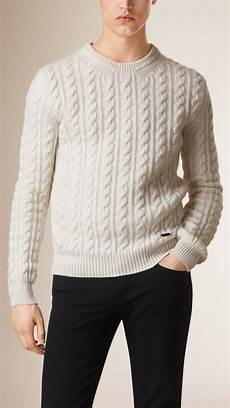 lyst burberry cable knit wool sweater