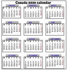 2020 Calendar Canada Canada Yearly Calendar 2020