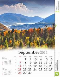 Calendar Landscape 2014 Calendar September Stock Image Image Of Alpine