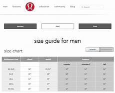 Sizing Chart For Men From Lululemon Size Chart Bra Size