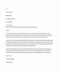 High School Student Recommendation Letter Free 6 Sample Scholarship Recommendation Letter Templates