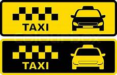 Taxi Yellow Light Clip Set Black And Yellow Icons With Taxi Stock Vector