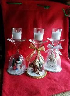 Christmas Wine Glass Tea Light Holders Wine Glass Candle Holder Christmas Candles Upside Down