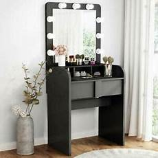 tribesigns vanity table set with lighted mirror home black