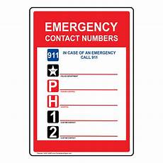 Emergency Contact Sign Emergency Contact Numbers 911 Sign Nhe 14095 Emergency