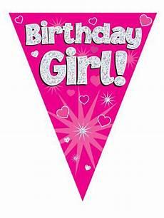 Birthday Girl Banner Birthday Girl Pink Holographic Flag Banner 3 9m