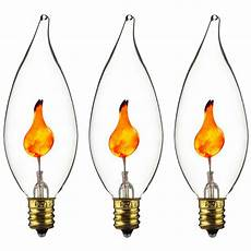 E10 Candle Light Bulbs 3pc E12 Flickering Flame Candelabra Light Bulbs 3w