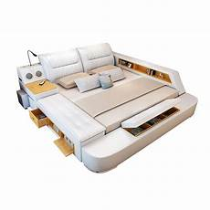 all in one leather bed frame with speakers