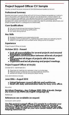 Project Cv Project Support Officer Cv Sample Myperfectcv