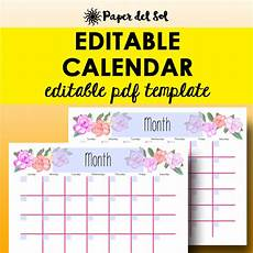 Editable Calander Monthly Calendar Editable Template Planner Printable Calendar