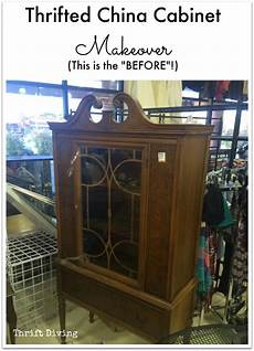 before after my thrifted china cabinet makeover