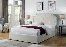 hermosa beige upholstered platform bed from coaster