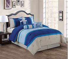 11 navy blue gray bed in a bag set