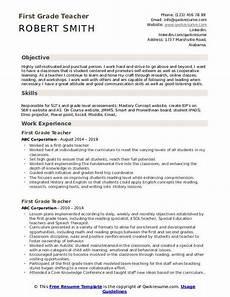 1st Resume First Grade Teacher Resume Samples Qwikresume
