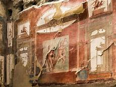 fresco old wall painting of neptune and aimone in herculaneum italy
