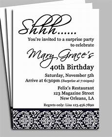 Invite To A Party Wording Black Damask Surprise Party Invitation Printable Or Printed