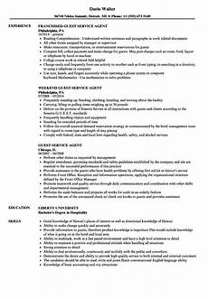 Guest Services Resume Guest Service Agent Resume Hotel Guest Service Agent Resume