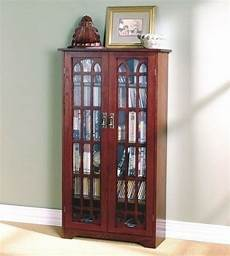 cherry finish wooden media cabinet 6 shelf cd dvd storage