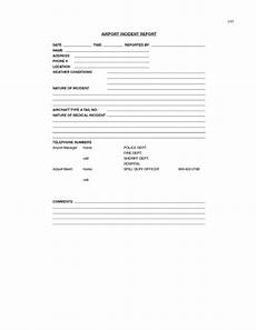 Aircraft Incident Report Appendix M Sample Airport Incident Report Form For Spill