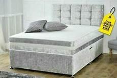 silver crushed velvet divan bed base storage draws king