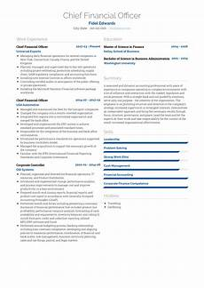 Chief Financial Officer Resume Chief Financial Officer Resume Samples And Templates