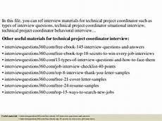 Project Coordinator Sample Interview Questions Top 10 Technical Project Coordinator Interview Questions