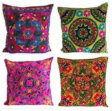 large indian suzani ethnic cushion cover covers embroidery