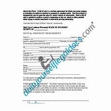 Automotive Bill Of Sale Colorado Bill Of Sale Of Motor Vehicle Automobile Colorado Sold