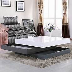 Cf Furniture Living Room 3 Set L Table by Modern 3 Layers High Gloss Storage Rotating Coffee Table