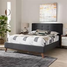 baxton studio valencia gray king platform bed 28862