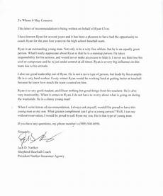 baseball letter of recommendation personal testimony ryan cline s professional portfolio