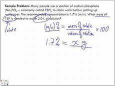 Chemistry Concentration Problems Concentration Of Solutions Mass Volume M V Sample