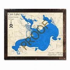 Cass Lake Depth Chart Cass Lake Mi 3d Wood Topo Map