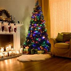Christmas Tree Decorating Ideas With Multicolor Lights Costway Costway 7ft Pre Lit Pvc Christmas Tree Hinged