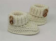 knitting baby chunky 2 button booties shoes