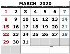 C Alendar Monthly March Calendar 2020 Print Out Sheets Set Your