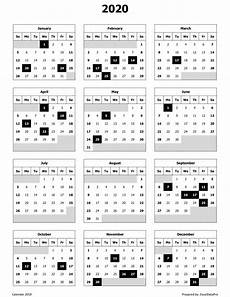 Calendar Excel Template 2020 2020 Calendar Excel Templates Printable Pdfs Amp Images