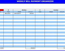 Weekly Bill Planner Search Results For Blank Printable Monthly Bill Organizer