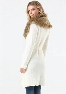 coats with bebe faux fur trim sweater coat in white lyst