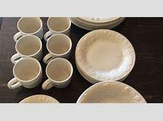 40 pieces, Gibson embossed Raised fruit white, dinnerware